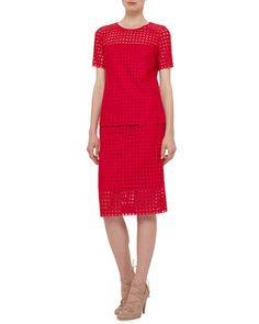 Short-Sleeve Circle-Embroidered Blouse & Pencil Skirt, Sport Red by Akris punto at Neiman Marcus.