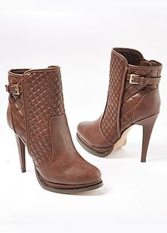Quilted buckle bootie - black or this tan. Luv both. Price not  nad either.