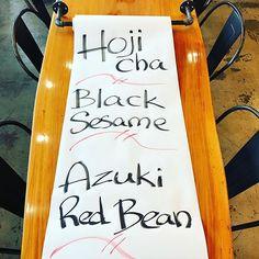The delicious Japanese trio! #hojichaicecream #blacksesameicecream #azukiredbeanicecream Black Sesame Ice Cream, Red Beans, Japanese, Japanese Language, Kidney Beans