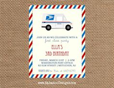 Post office inspired birthday party office birthday post office mail truck birthday party invitation httpsetsylisting stopboris Image collections