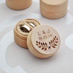 Custom Ring Box, Personalized Wedding / Valentines Engagement Wooden Ring Bearer…