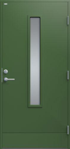 Diplomat Laila klarglas Grön (NCS S 5020-G30Y) & Ytterdörr Dooria Premium Milano 1010 Klarglas Vit - Enkeldörrar ...