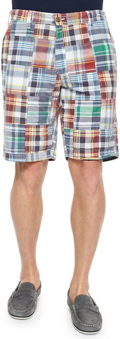 Tailor Vintage Reversible Plaid Patchwork Shorts, Navy