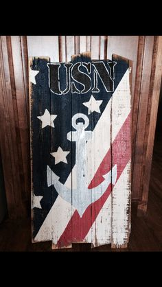 USN sign old wood navy flag sign with anchor
