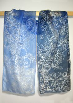 Silk scarf FROST hand painted silk scarves blue by MinkuLUL, $56.00