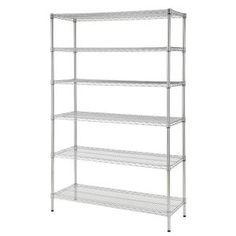 This wire shelving unit features a durable chrome finish. The decorative unit features adjustable shelves to meet all of your storage needs. The shelving unit is NSF certified for dry food safety. Wire Rack Shelving, Garage Shelving Units, Steel Shelving Unit, Heavy Duty Shelving, Utility Shelves, Wire Storage, Storage Shelving, Storage Organization, Storage Racks