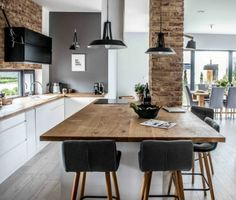 modern kitchen and dining room design modern l shaped kitchen and dining space in shades of grey modern kitchen dining room design Living Room Kitchen, Kitchen Decor, Kitchen Sink, Open Kitchen, Kitchen Island, Open Plan Kitchen Dining Living, Nordic Kitchen, Loft Kitchen, Kitchen Floors