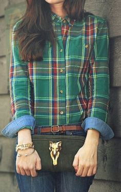 emerald city - plaid shirt blouse green red style