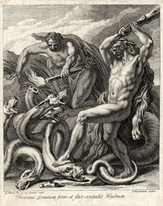 Print made by Louis Chéron  Print made by Gerard van der Gucht  Date 1690-1725 Hercules, with raised club and wearing his lion skin, fighting the Lernaean hydra; .....