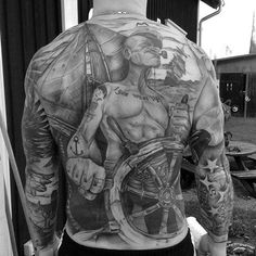 Full Back Guys Popeye Sailing Ship Tattoos