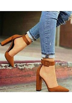 6e403f4e68e Brown Point Toe Chunky Buckle Fashion High-Heeled Shoes