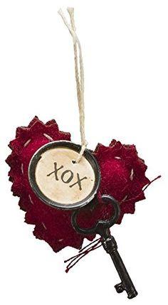 PBK Small Miniature Valentines Ornaments - Baby Heart Felt Hearts XOX
