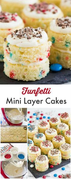 Bring festive mood to your summer celebration with these adorable funfetti mini layer cakes. These fluffy little cakes are easy to make and a sure crowd-pleaser!