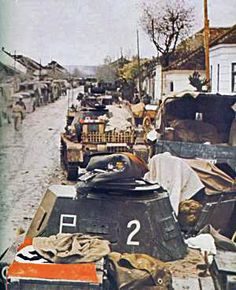 German tanks in a Russian village by GLORY. The largest archive of german WWII images, via Flickr