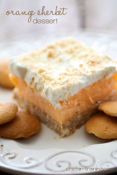 With all the banana-Nilla wafer pairing going on, this orange sherbet dessert is a nice change of pace. Crushed cookies and whipped cream make an easy crust. Then, it's just a matter of laying orange sherbet and the remaining whipped topping. Sprinkle the top with more Nilla wafer crumbles and freeze for a few hours. Now, orange-ya glad we didn't say banana?  Get the recipe from Chef in Training.   - Delish.com