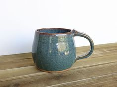 Coffee Cup Ceramic Stoneware in Sea Mist Glaze  by dorothydomingo