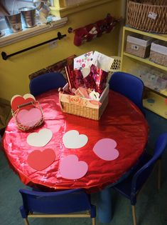 Valentine creation station, writing prompt, worked really well.