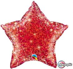 Red holographic star standard foil balloon http://www.wfdenny.co.uk/p/holographic-red-star-shaped-balloon/3500/