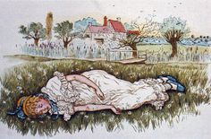 Girl sleeping in a field by Kate Greenway