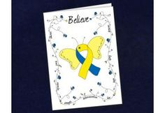 Blue & Yellow Ribbon Butterfly Believe Card - (BBC-10)