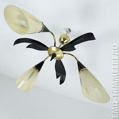 SPUTNIK SPINNE LAMPE LEUCHTE ROCKABILLY GLAS SCHIRM 50er MID CENTURY VINTAGE