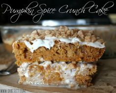 Pumpkin spice cake-can of pumpkin, spice cake mix (mixed according to package directions), bag of toffee bits, cream cheese frosting