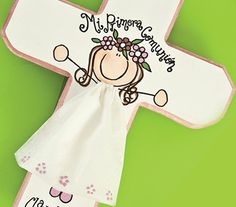 Cruces de madera para Primera Comunión First Communion Favors, First Holy Communion, Tole Painting, Ink Painting, Cross Crafts, Country Paintings, Country Primitive, Wood Crafts, Party Supplies
