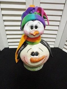 Handpainted Primitive Christmas Winter Penguin Doll Gourd