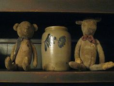 Old Crock...and two tattered teddies.