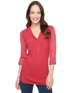 Splendid Official Store, 3/4 Sleeve Shirting Top, river rock, Womens : Tops : 3/4 Sleeve, ST9A5964