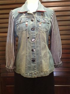 Berek  - Jean jacket with striped sleeves and button details - $202