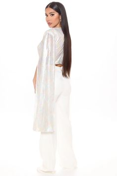 Sequin Babe Pant Set - White/combo - Matching Sets - Fashion Nova Rompers Women, Jumpsuits For Women, Jackets For Women, Sweaters For Women, Clothes For Women, Spandex Pants, High Rise Pants, Sequin Top, Sweater Shop