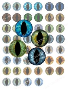 Eyes, Human, Lizard, Digital Collage, Instant Download, 1 inch, for Scrapbooking, Paper Crafts, Pendants, 242 by LisaChristines on Etsy