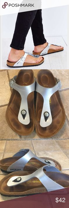 Birkenstock Gizeh Thong Flip Flop Sandals Silver Gently used but over all in good condition. Beautiful Silver Color. Size Euro 37. No Box Birkenstock Shoes Sandals