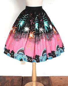 Vintage 1950s Skirt // 50s Vegas Fireworks by TrueValueVintage