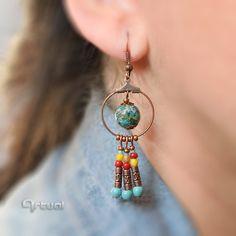 Drop earrings copper jewelry hoop earrings wire dangle by Artual