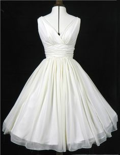 Simple and elegant 50s style dress. Ivory chiffon overlay, flattering for all si