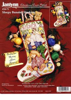 Your place to buy and sell all things handmade Cross Stitch Christmas Stockings, Cross Stitch Stocking, Cross Stitch Books, Xmas Stockings, Christmas Cross, Cross Stitch Embroidery, Cross Stitch Patterns, Sleeping Bunny, Holidays With Kids