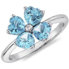 Blue Nile Blue Topaz Flower Ring in 14k White Gold found on Polyvore $455