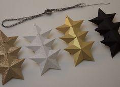 Guirlande d'étoiles en 3D, noires, dorées irisées, blanches à pois et dorées à paillettes