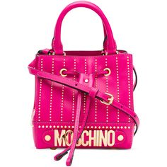 Moschino logo plaque cross-body bag ($1,130) ❤ liked on Polyvore featuring bags, handbags, shoulder bags, pink, handbags crossbody, hand bags, pink shoulder bag, studded crossbody purse and crossbody handbags