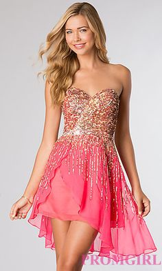 Short Strapless Sequin Dress by Sherri Hill 8443 at PromGirl.com  I love this in the gold shade for my bridesmaid dresses!