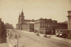 Warszawa - Ulica Krakowskie Przedmieście widok w kierunku ulicy Nowy Świat, fot. Konrad Brandel (1860-1880)