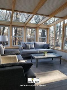 The Garden Style Sunroom features a thinner beam and larger windows to maximize sunlight, making it popular for year round plant-lovers. Four Season Sunroom, Three Season Room, Living Area, Living Spaces, Indoor Outdoor Fireplaces, Traditional Porch, White Beams, Sunroom Addition, Patio Enclosures