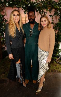 Mary Alice Malone Roy Luwolt and Olivia Palermo attend the Malone Souliers London Fashion Week SS18 Presentation on September 17 2017 in London...