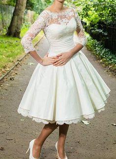 Stock Half Sleeve Tea Length Short Lace Wedding Dress Bridal Gown Size 6-16