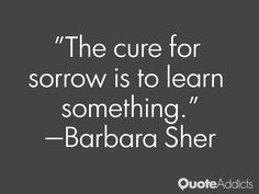 The cure for sorrow is to learn something.~ Barbara Sher - Google Search