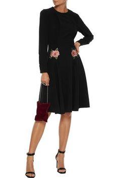 Mikael Aghal Floral-appliquÉd Pintucked Crepe Dress In Black Dresses For Sale, Dresses For Work, Dress Sale, Skirt Pants, Jacket Dress, Beach Wear Dresses, Crepe Dress, Knee Length Dresses, Coats For Women