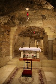 The lower grotto of the Basilica of the Annunciation in Nazareth
