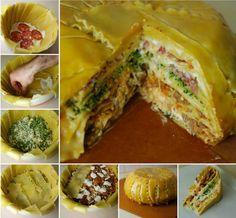 "DIY Deep Dish Layered Lasagna Timpano ""Cake"" | iCreativeIdeas.com Follow Us on Facebook --> https://www.facebook.com/icreativeideas"